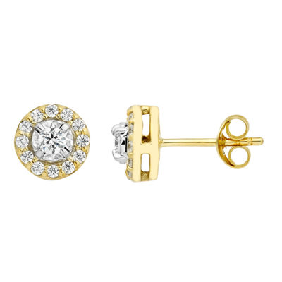 1/2 CT. T.W. Genuine White Diamond 10K Gold 8.3mm Stud Earrings