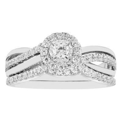 Womens 1/2 CT. T.W. Genuine Round White Diamond 10K Gold Engagement Ring