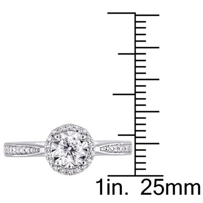 Womens 1/3 CT. T.W. Genuine White Diamond Sterling Silver Engagement Ring
