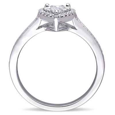 Womens 1/3 CT. T.W. Genuine Round White Diamond Sterling Silver Engagement Ring