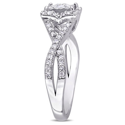Womens 1/2 CT. T.W. Genuine White Diamond Sterling Silver Engagement Ring
