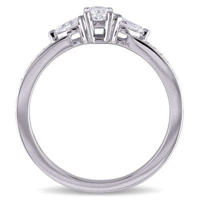 Womens 5/8 CT. T.W. Oval White Diamond 14K Gold Engagement Ring