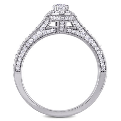Womens 3/4 CT. T.W. Oval White Diamond 14K Gold Engagement Ring