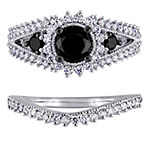 Womens 2 CT. T.W. Genuine Black Diamond 10K Gold Bridal Set