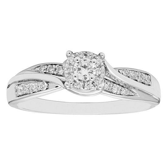 Promise My Love Womens 1/4 CT. T.W. Genuine White Diamond 10K Gold Promise Ring