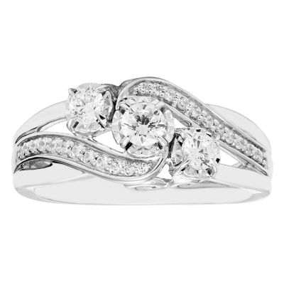 Love Lives Forever Womens 1/2 CT. T.W. Genuine White Diamond 10K Gold 3-Stone Engagement Ring
