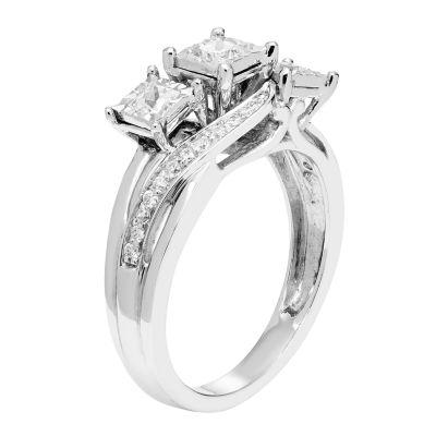 Love Lives Forever Womens 1/2 CT. T.W. Multi-Shape White Diamond 10K Gold 3-Stone Ring