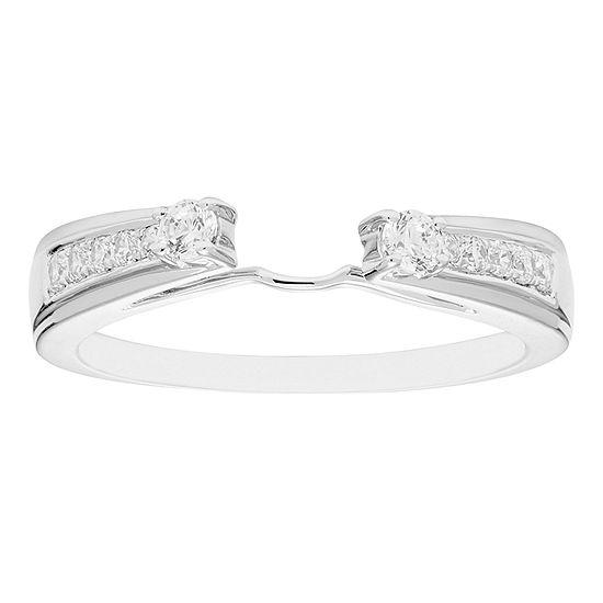 Womens 1/4 CT. T.W. Genuine White Diamond 14K Gold Ring Enhancer