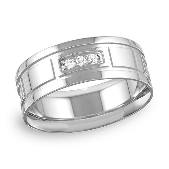 Mens 8MM 1/4 CT. T.W. Genuine White Diamond 10K Gold Wedding Band