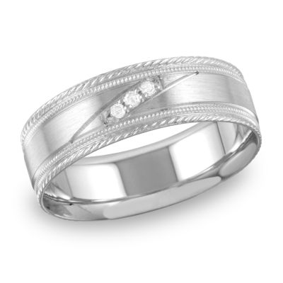 Mens Diamond Accent Genuine White Diamond 10K Gold Wedding Band
