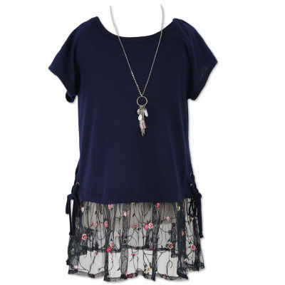 Speechless Short Sleeve Mesh Bottom Tunic Top w Necklace- Girls' 7-16