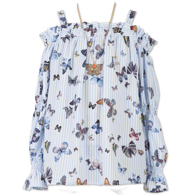 Speechless Cold Shoulder Butterfly Top w Necklace- Girls' 7-16