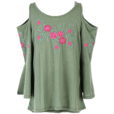 Speechless Cold Shoulder Embroidered Tunic Top - Girls' 7-16