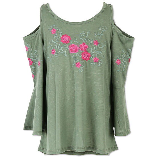 4c9e334d415 Speechless Cold Shoulder Embroidered Tunic Top - Girls  7-16 - JCPenney