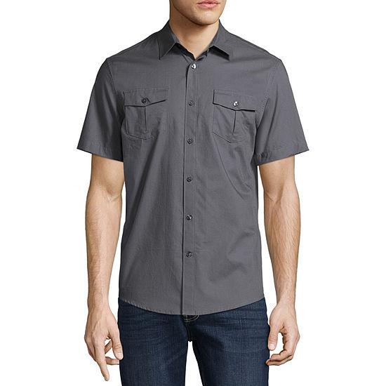 Claiborne Mens No Tuck Short Sleeve Slim Fit Textured Button-Front Shirt