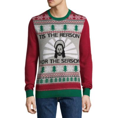 Novelty Season Crew Neck Long Sleeve Pullover Sweater