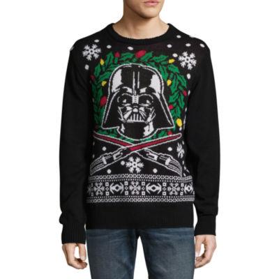 Novelty Season Crew Neck Long Sleeve Star Wars Cotton Blend Pullover Sweater LED Lights