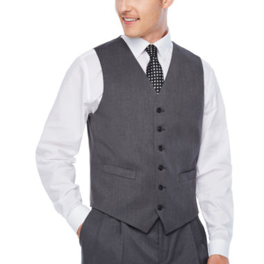 Stafford Medium Grey Travel Suit- Classic Fit Woven Suit Vests