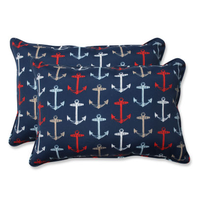 Pillow Perfect Anchor Allover Arbor Rectangular Outdoor Pillow - Set of 2