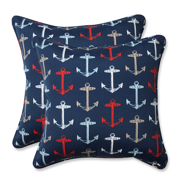Pillow Perfect Anchor Allover Arbor Square OutdoorPillow - Set of 2
