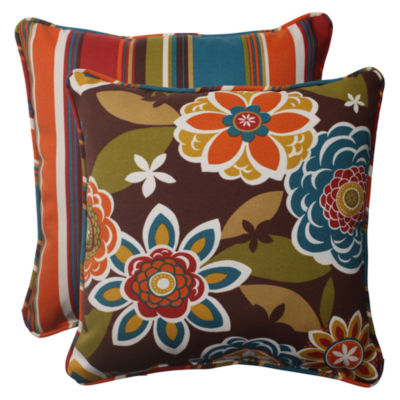 Pillow Perfect Annie Westport Reversible Square Outdoor Pillow - Set of 2