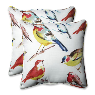 Pillow Perfect Bird Watchers Summer Square OutdoorPillow - Set of 2