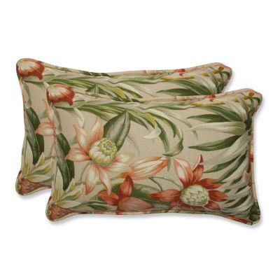 Pillow Perfect Botanical Glow Tiger Stripe Rectangular Outdoor Pillow - Set of 2