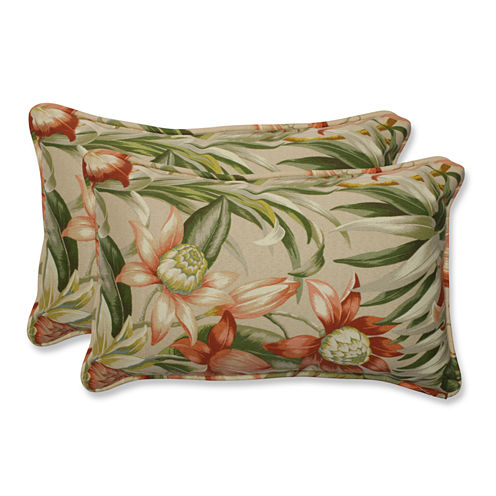 Pillow Perfect Botanical Glow Tiger Stripe Rectangular Outdoor Pillow - Set of 2
