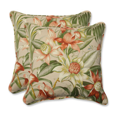 Pillow Perfect Botanical Glow Tiger Stripe SquareOutdoor Pillow - Set of 2