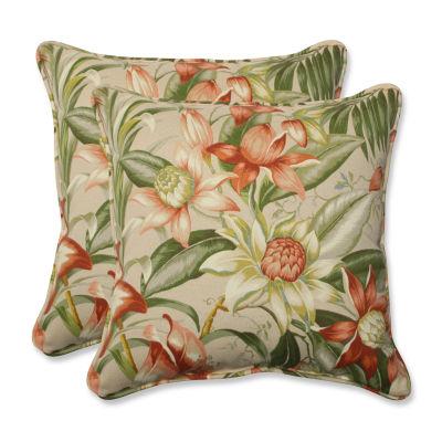 Pillow Perfect Botanical Glow Tiger Stripe SquareOutdoor Pillow - Set of 2
