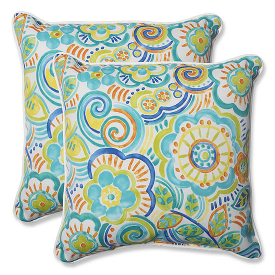 Pillow Perfect Bronwood Square Outdoor Pillow - Set of 2