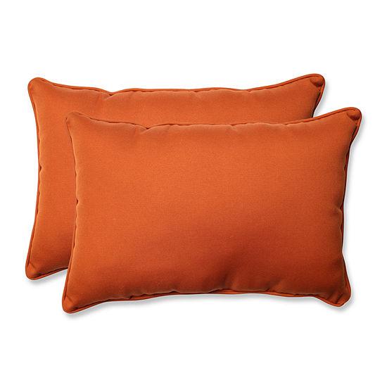 Pillow Perfect Cinnabar Rectangular Outdoor Pillow- Set of 2