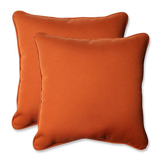 Pillow Perfect Cinnabar Square Outdoor Pillow - Set of 2
