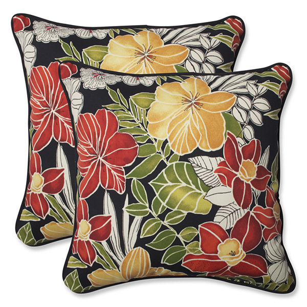 Pillow Perfect Clemens Square Outdoor Pillow - Setof 2