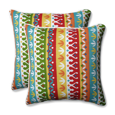 Pillow Perfect Cotrell Garden Square Outdoor Pillow - Set of 2