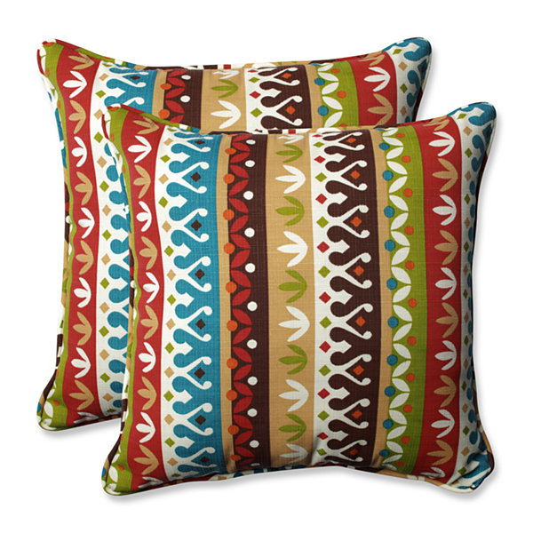 Pillow Perfect Cotrell Jungle Square Outdoor Pillow - Set of 2