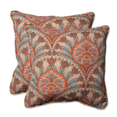 Pillow Perfect Crescent Beach Square Outdoor Pillow - Set of 2