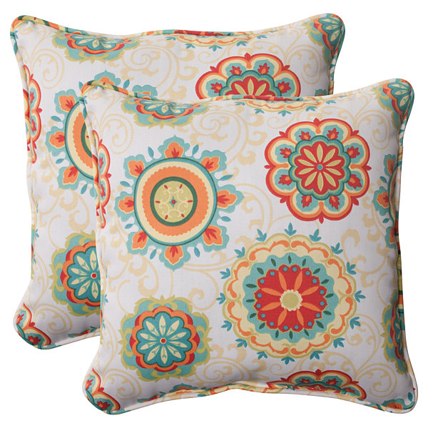 Pillow Perfect Farrington Square Outdoor Pillow -Set of 2