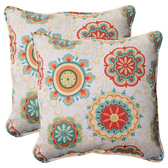 Pillow Perfect Farrington Square Outdoor Pillow -Set of 2