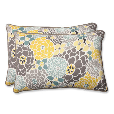 Pillow Perfect Full Bloom Rectangular Outdoor Pillow - Set of 2