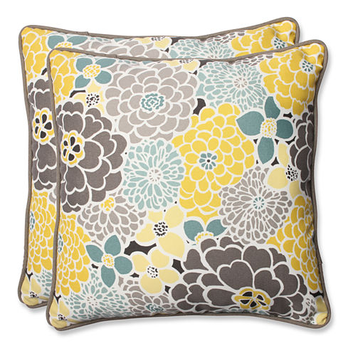 Pillow Perfect Full Bloom Square Outdoor Pillow -Set of 2
