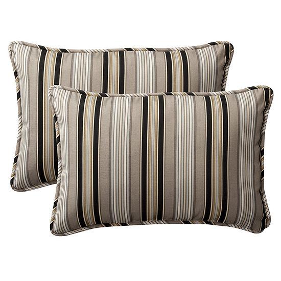 Pillow Perfect Getaway Stripe Rectangular OutdoorPillow - Set of 2