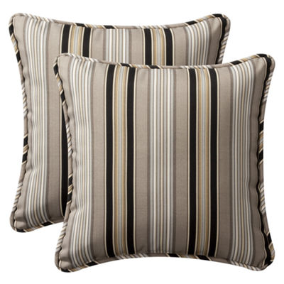 Pillow Perfect Getaway Stripe Square Outdoor Pillow - Set of 2