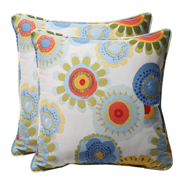 Pillow Perfect Crosby Square Floral Square Toss Pillows - Set of 2