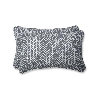 Pillow Perfect Herringbone Rectangular Outdoor Pillow - Set of 2