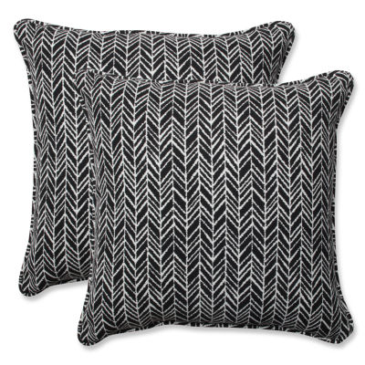 Pillow Perfect Herringbone Square Outdoor Pillow -Set of 2