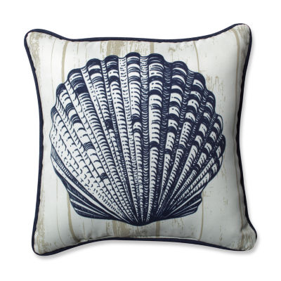 Pillow Perfect Lakelife Shell Square Outdoor Pillow