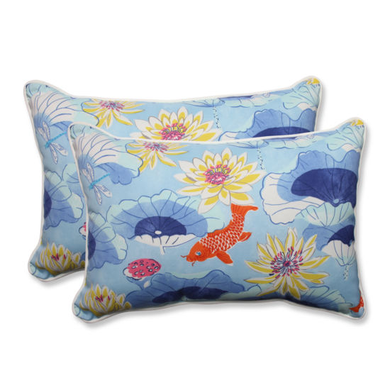 Pillow Perfect Lotus Lake Rectangular Outdoor Pillow - Set of 2