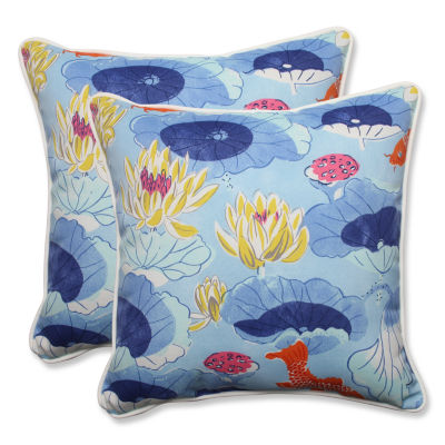 Pillow Perfect Lotus Lake Square Outdoor Pillow -Set of 2
