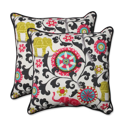 Pillow Perfect Menagerie Spectrum Square Outdoor Pillow - Set of 2